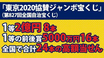 「東京2020協賛ジャンボ宝くじ」全国で1等2億円8本、1等の前後賞5000万円16本の高額当せんが発生!