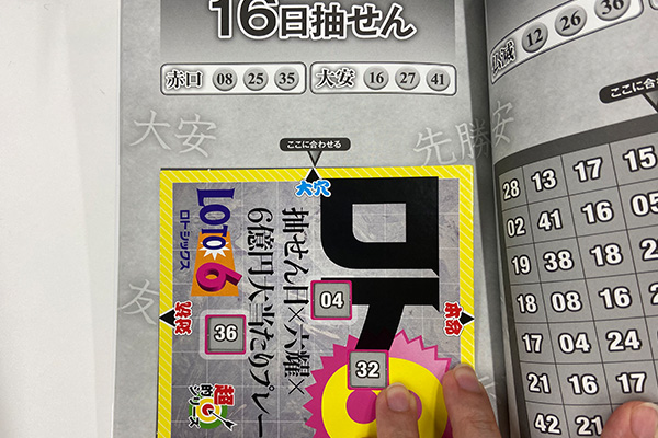 「抽せん日×六耀×6億円大当たりプレート」第1500回予想 大穴