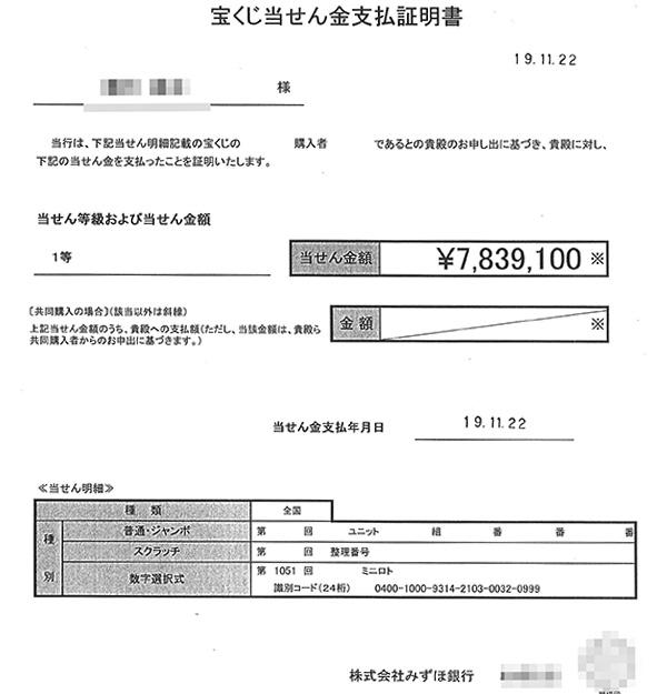 第1051回ミニロト1等783万9100円の当せん証明書