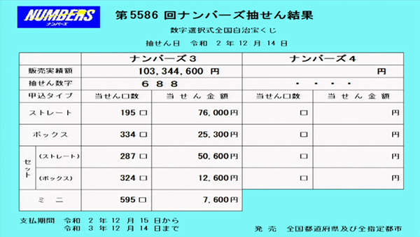 第5586回ナンバーズ3