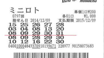 第797回ミニロト1等550万9700円 当せん