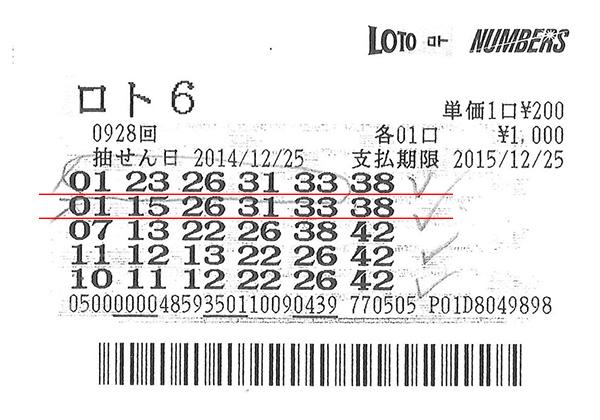 第928回ロト6 3等+4等=86万6800円 当せん