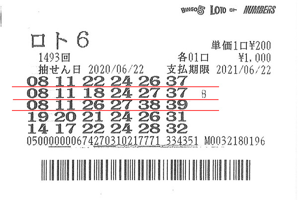 第1493回ロト6 3等24万7100円 当せん