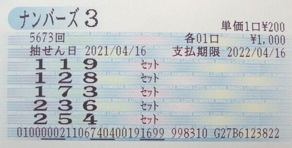 【ナンバーズ3】第5673回[623]を[236] SB当せん!奥野予想 2021年4月28日更新