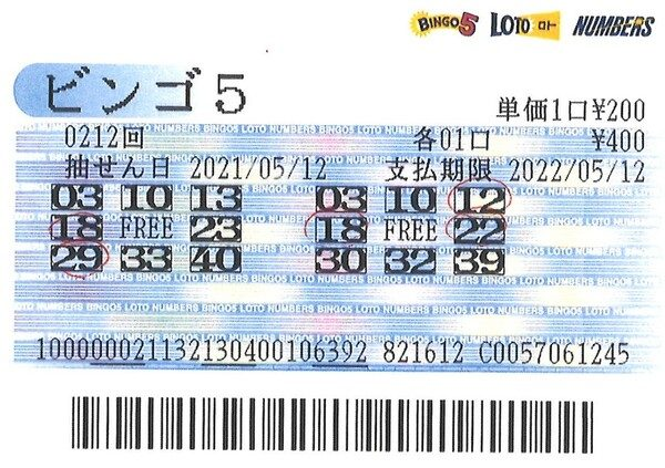 【ビンゴ5】前回7等4口当せん!石川編集長 第213回(2021年5月19日抽せん)予想