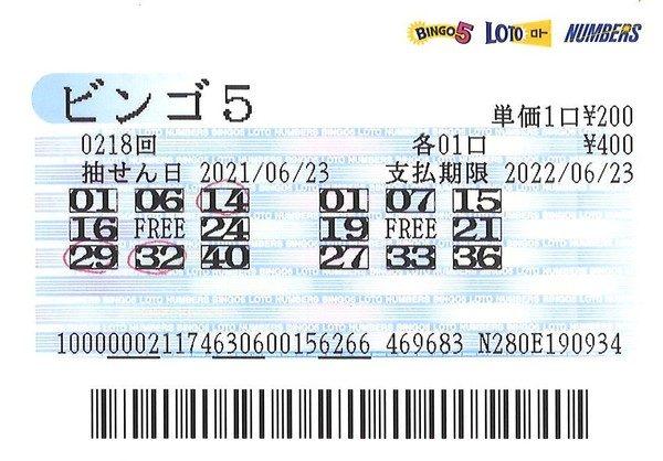 【ビンゴ5】前回7等2口当せん!石川編集長 第219回(2021年6月30日抽せん)予想