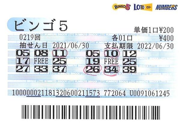 【ビンゴ5】前回7等3口当せん!石川編集長 第220回(2021年7月7日抽せん)予想