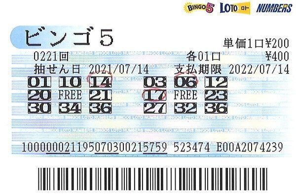【ビンゴ5】石川編集長 第222回(2021年7月21日抽せん)予想