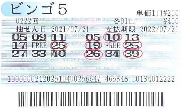 【ビンゴ5】前回7等2口当せん!石川編集長 第223回(2021年7月28日抽せん)予想