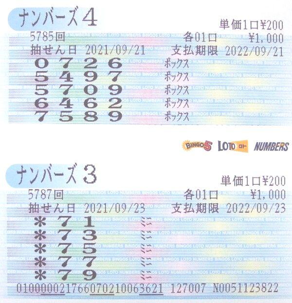 【ナンバーズ3】第5787回[975]を[75]ミニ当せん!奥野予想 2021年9月29日更新